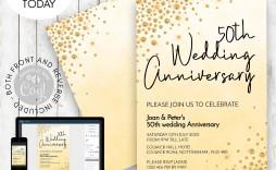 002 Sensational 50th Wedding Anniversary Invitation Template Free Download Inspiration  Golden