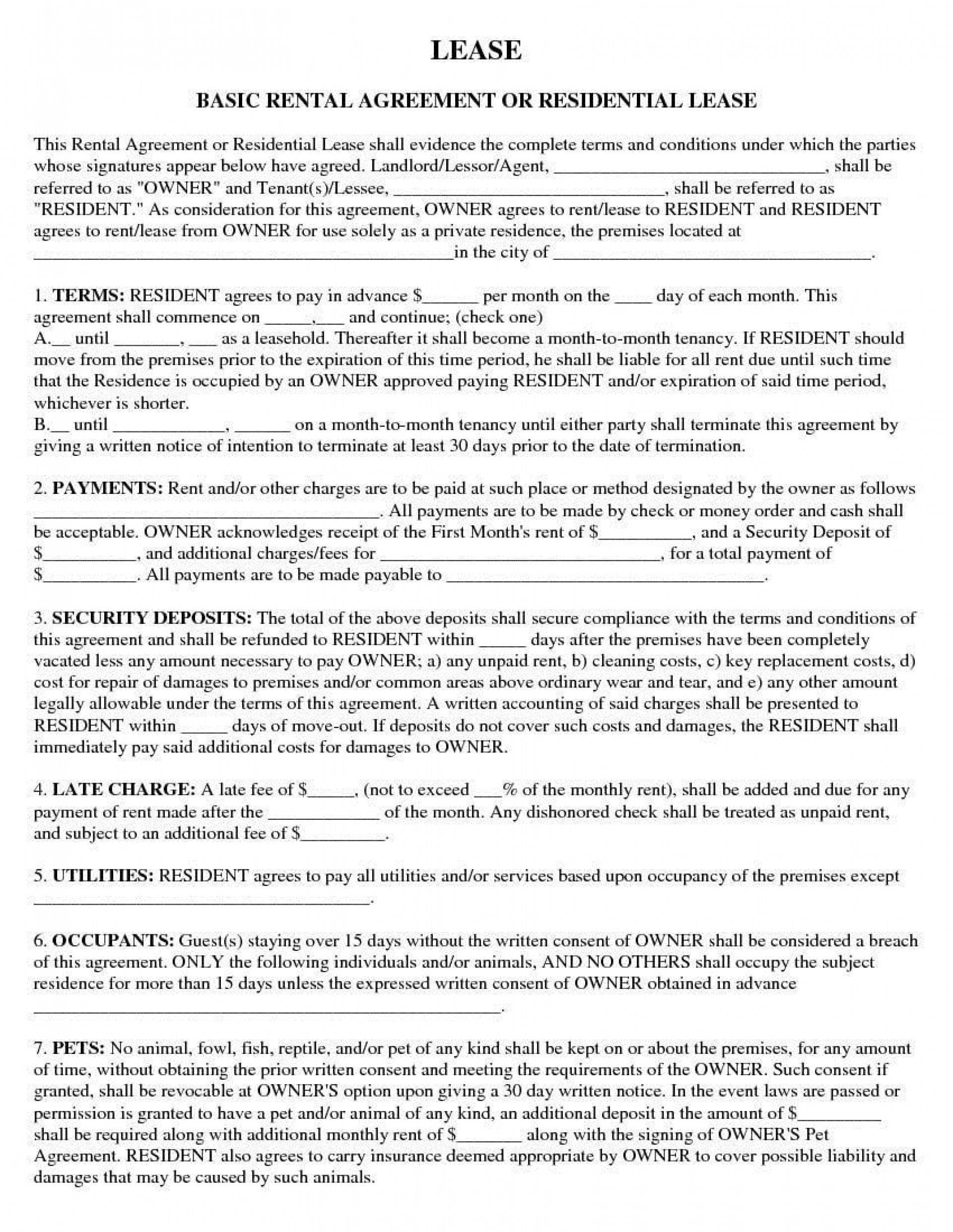 002 Sensational Apartment Rental Agreement Form Design  Forms Lease Ontario Format Simple1920