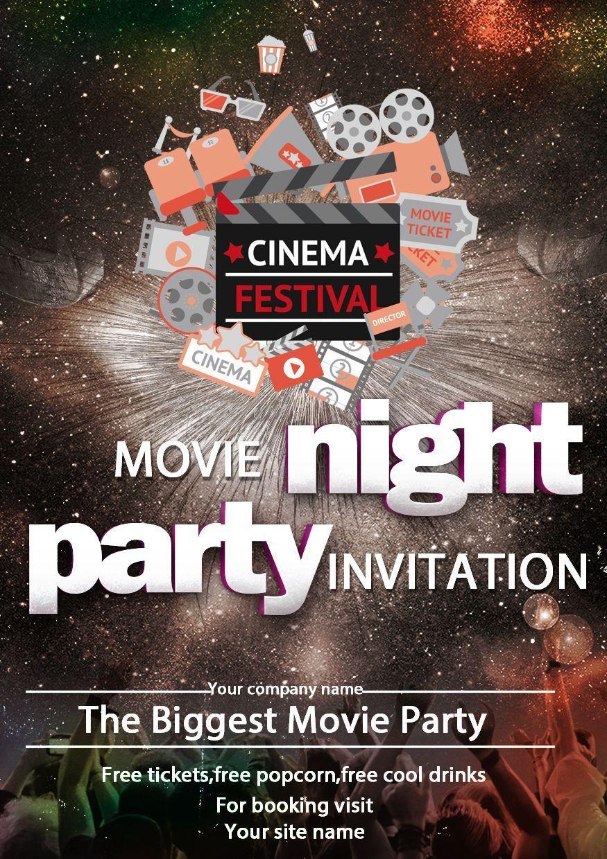 002 Sensational Movie Night Flyer Template Photo  Editable Psd FreeFull