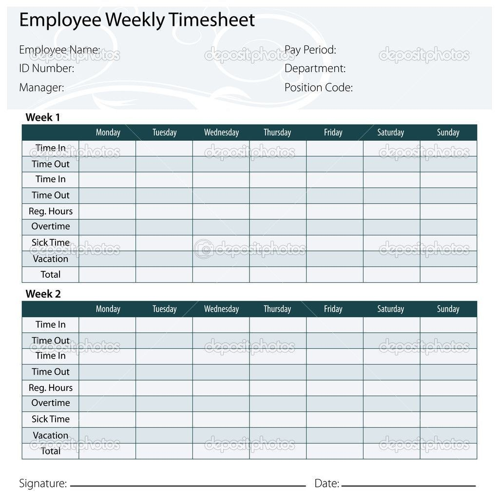 002 Sensational Weekly Timesheet Template Excel Photo  Simple FreeLarge