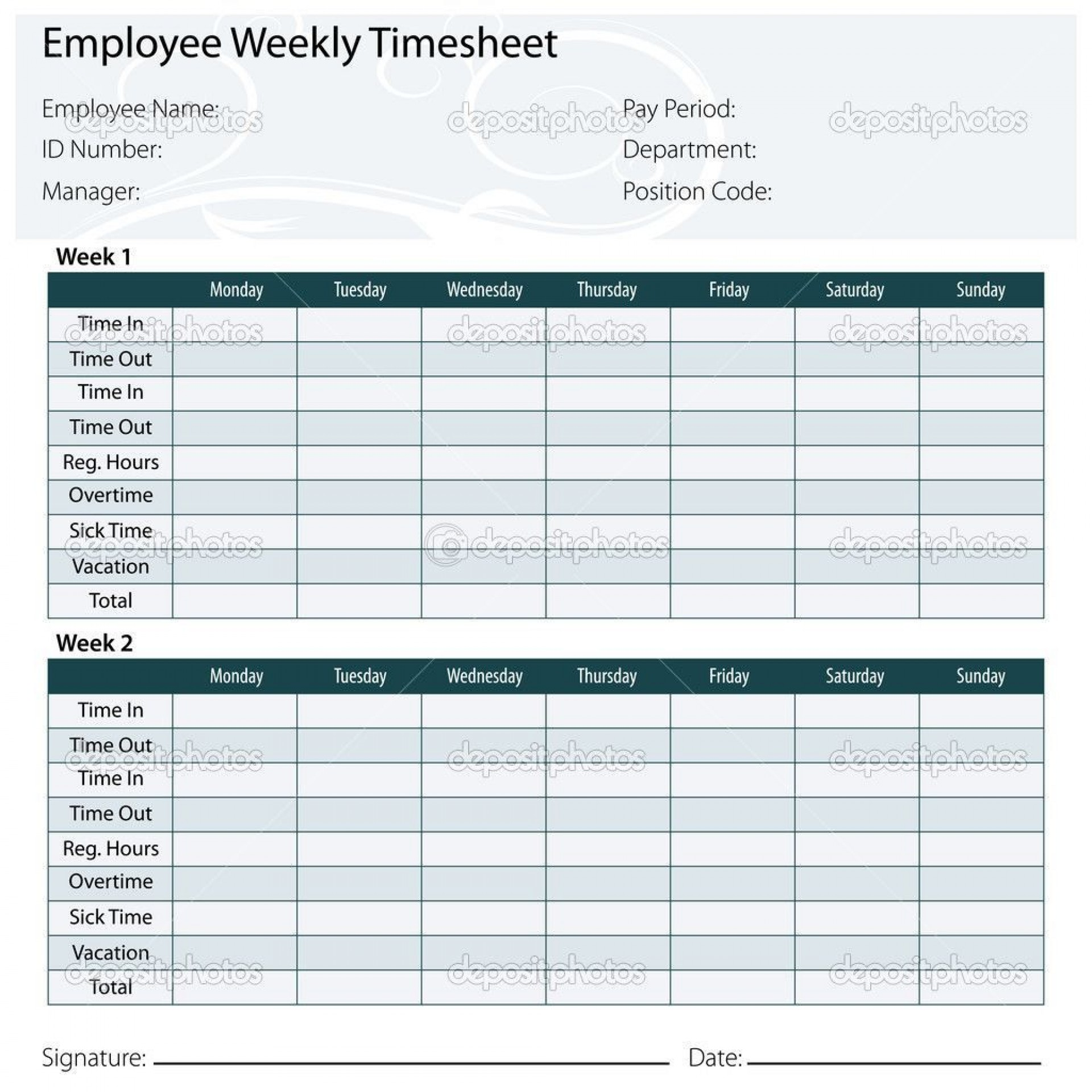 002 Sensational Weekly Timesheet Template Excel Photo  Simple Free1920