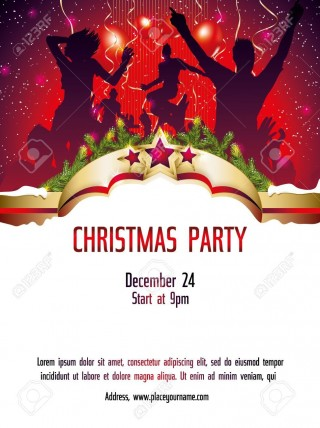 002 Shocking Christma Party Invitation Template High Definition  Holiday Download Free Psd320