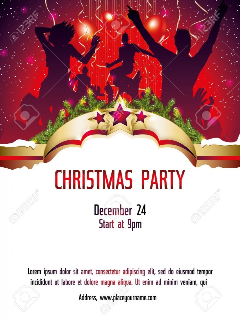 002 Shocking Christma Party Invitation Template High Definition  Holiday Download Free Psd960