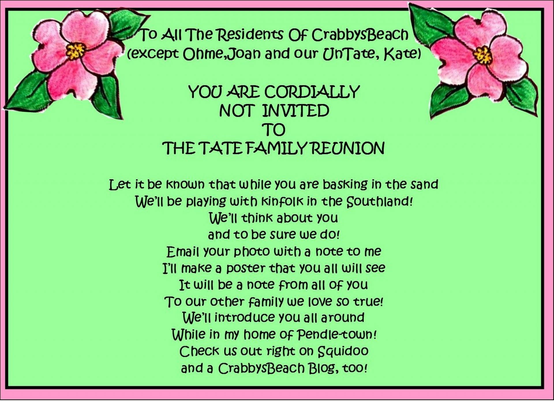 002 Shocking Family Reunion Flyer Template Free Picture  Downloadable Printable Invitation1920