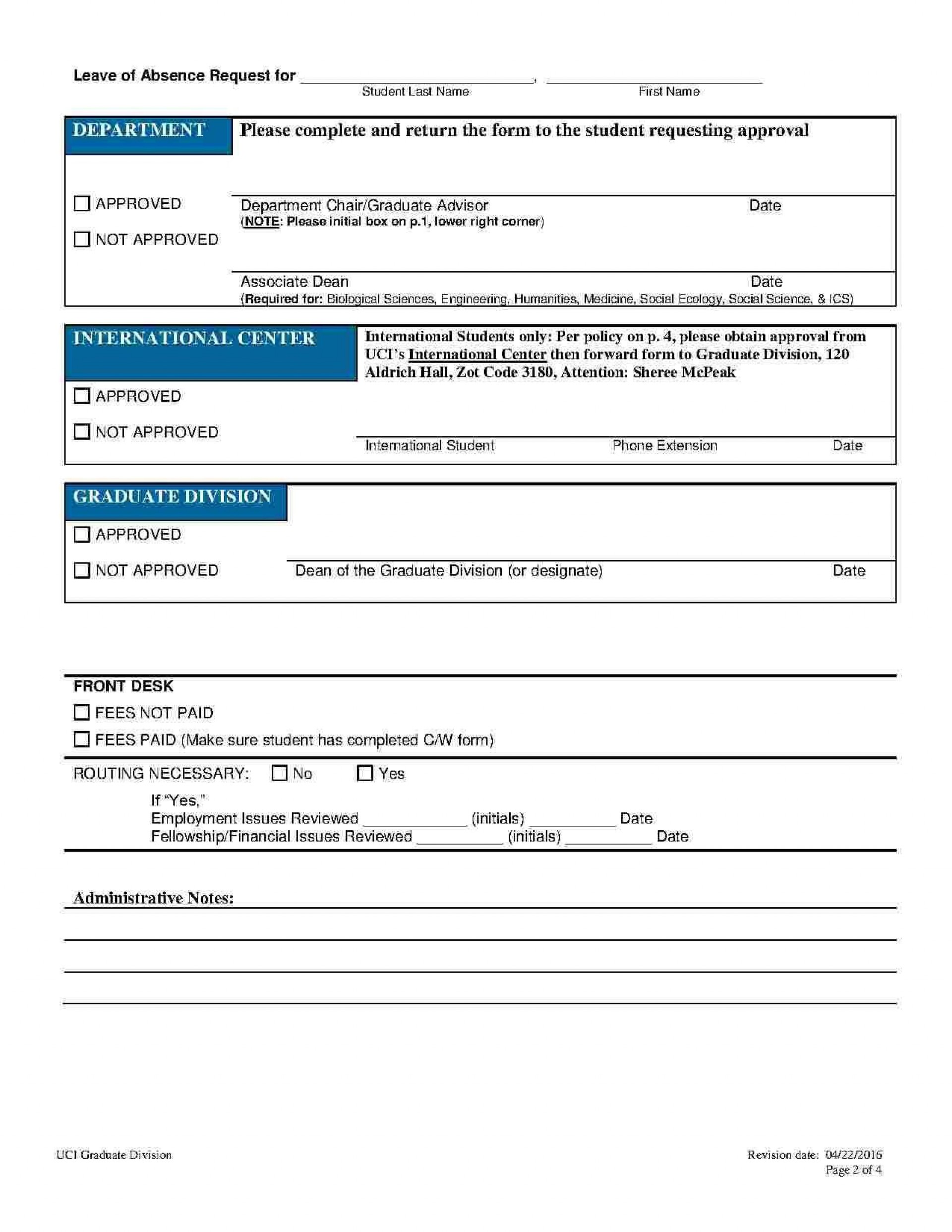 002 Shocking Leave Of Absence Form Template Example  Medical Request Free1920