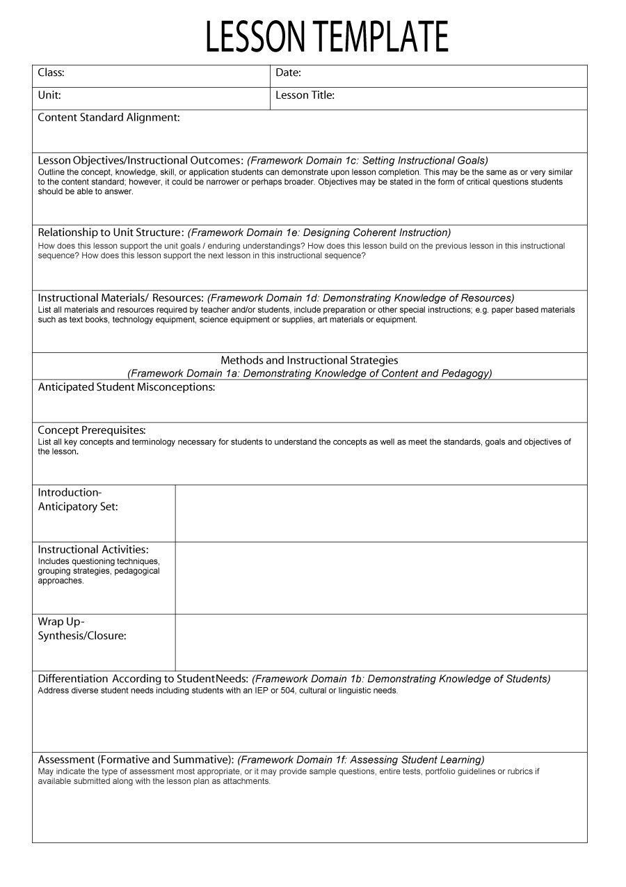 002 Shocking Lesson Plan Outline Template Concept  Sample Format Pdf Blank Free Printable