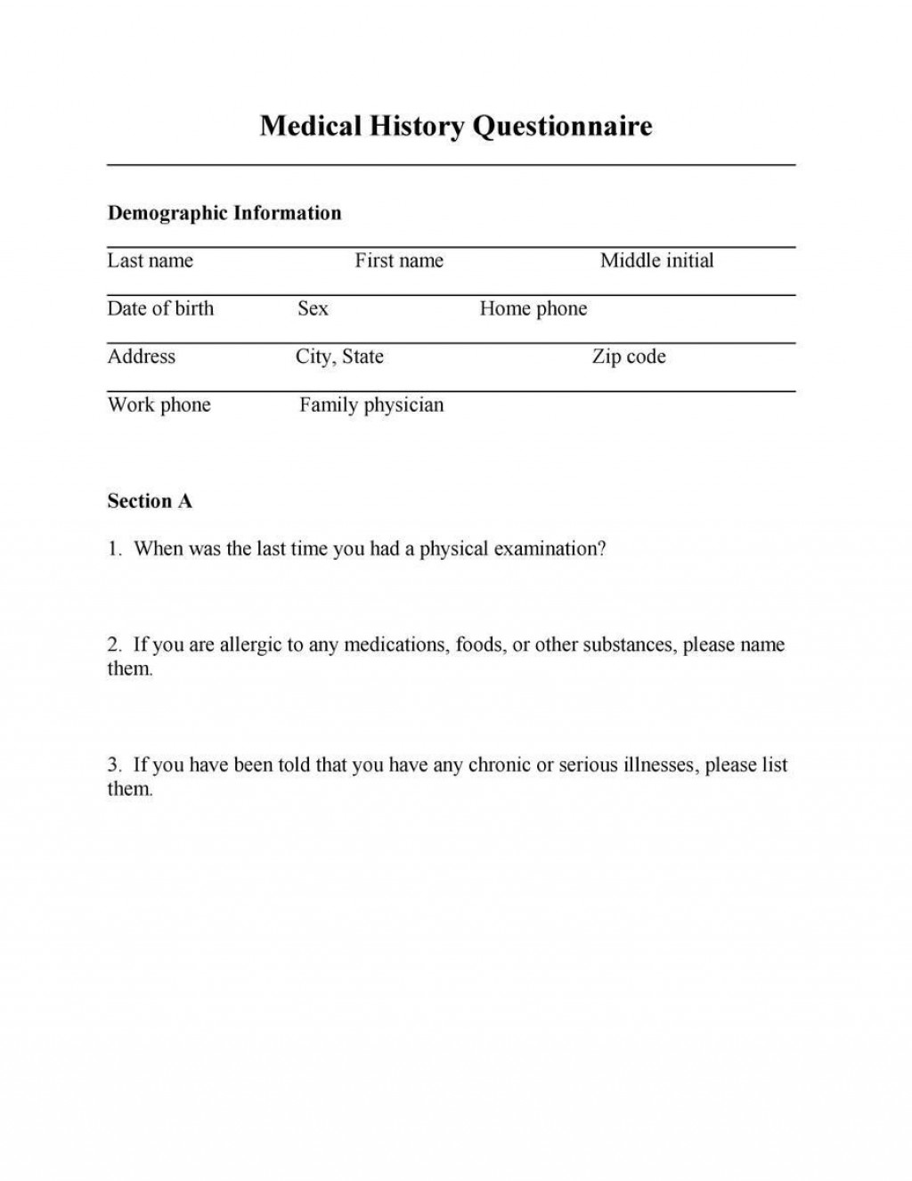 002 Shocking Medical History Form Template For Personal Training Sample Large