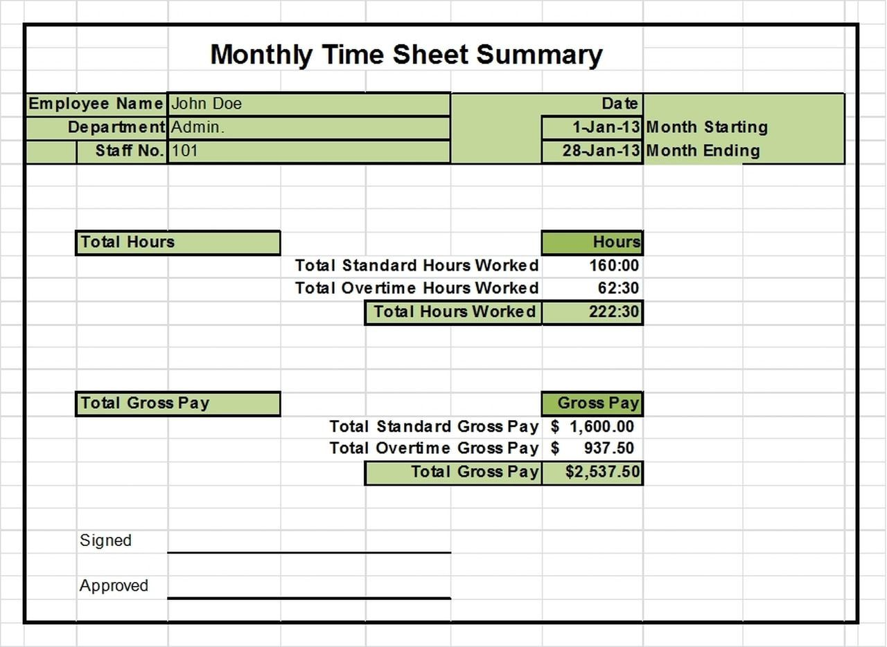 002 Shocking Monthly Timesheet Excel Template Design  Multiple Employee Free Semi-monthly 2020Full