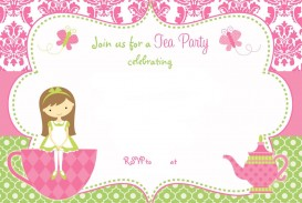 002 Shocking Tea Party Invitation Template High Def  Wording Vintage Free Sample