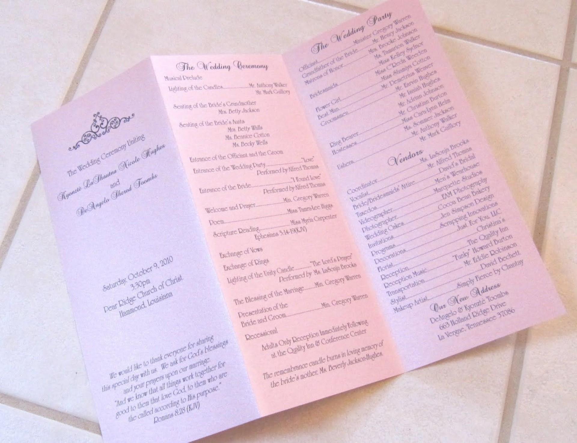 002 Shocking Trifold Wedding Program Template Design  Tri Fold Word Folded Example1920
