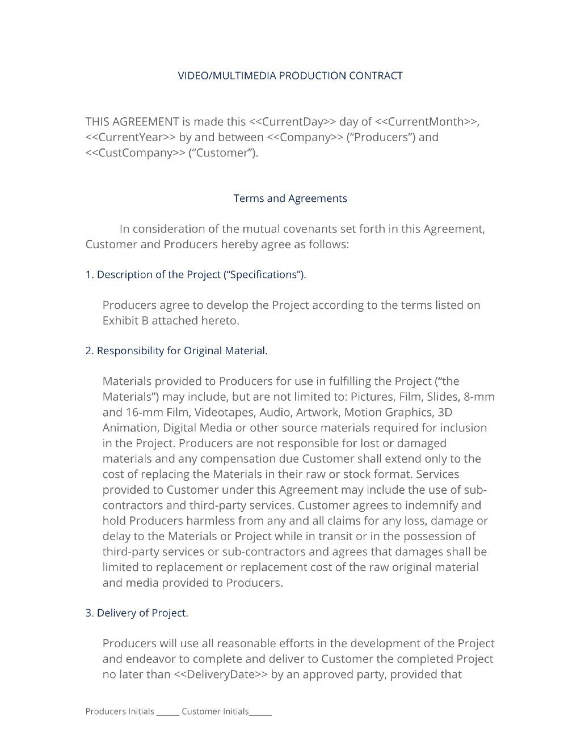002 Shocking Wedding Videographer Contract Template High Definition  Videography Pdf1920