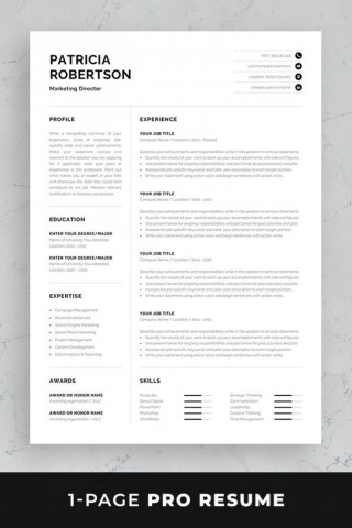 002 Simple 1 Page Resume Template Concept  One Microsoft Word Free For Fresher320