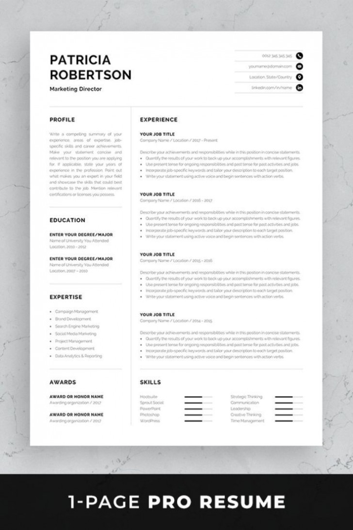 002 Simple 1 Page Resume Template Concept  One Microsoft Word Free For Fresher728