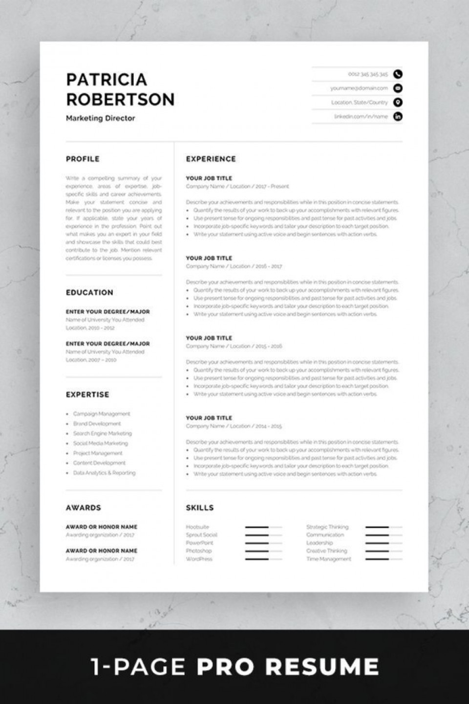 002 Simple 1 Page Resume Template Concept  One Microsoft Word Free For Fresher960