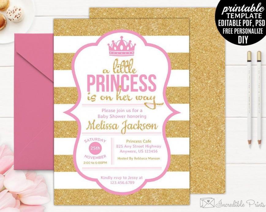 002 Simple Baby Shower Invitation Girl Printable Idea 868