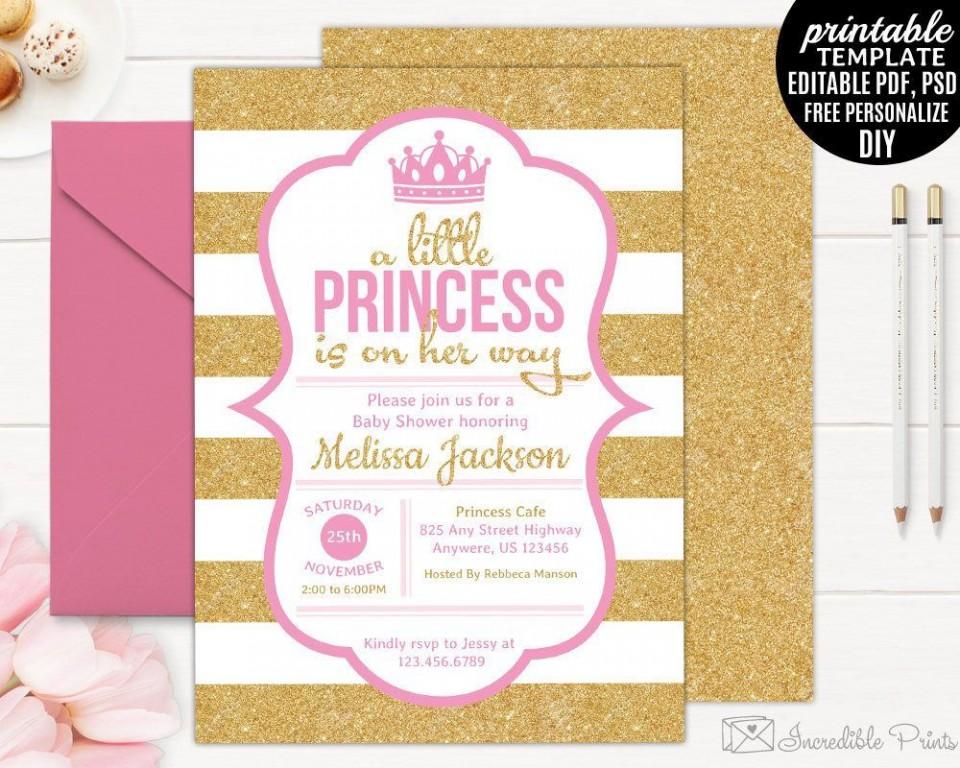 002 Simple Baby Shower Invitation Girl Printable Idea 960