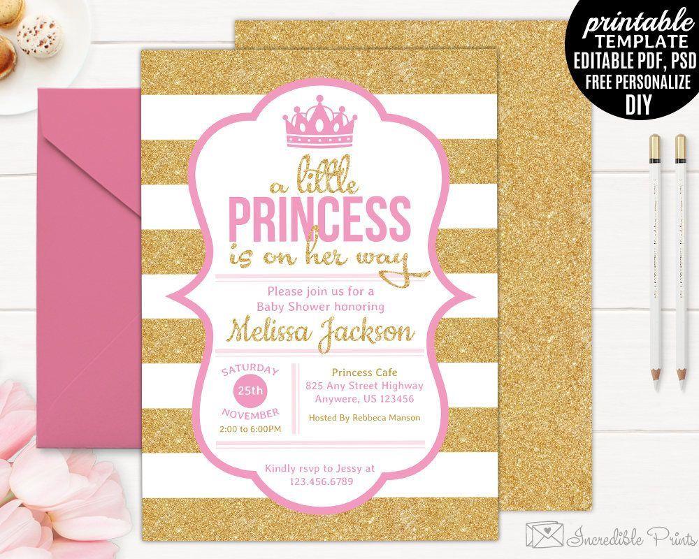 002 Simple Baby Shower Invitation Girl Printable Idea Full