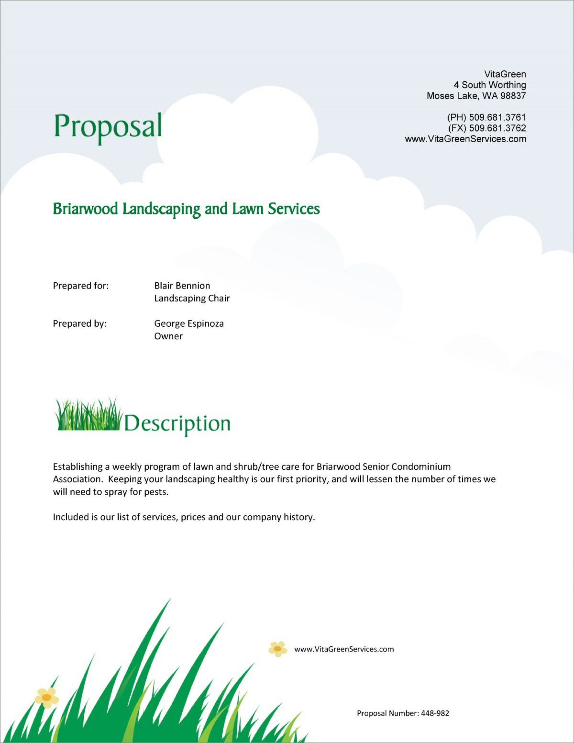 002 Simple Commercial Lawn Care Bid Template Example 1920