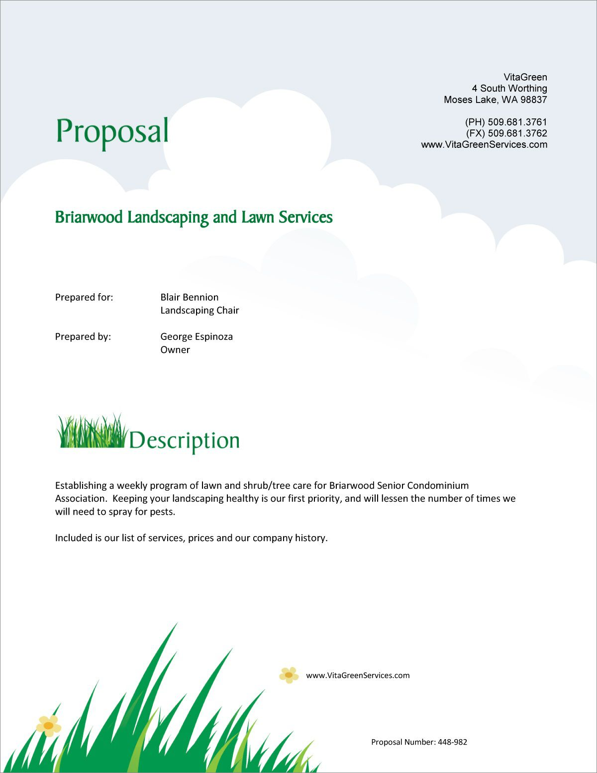 002 Simple Commercial Lawn Care Bid Template Example Full