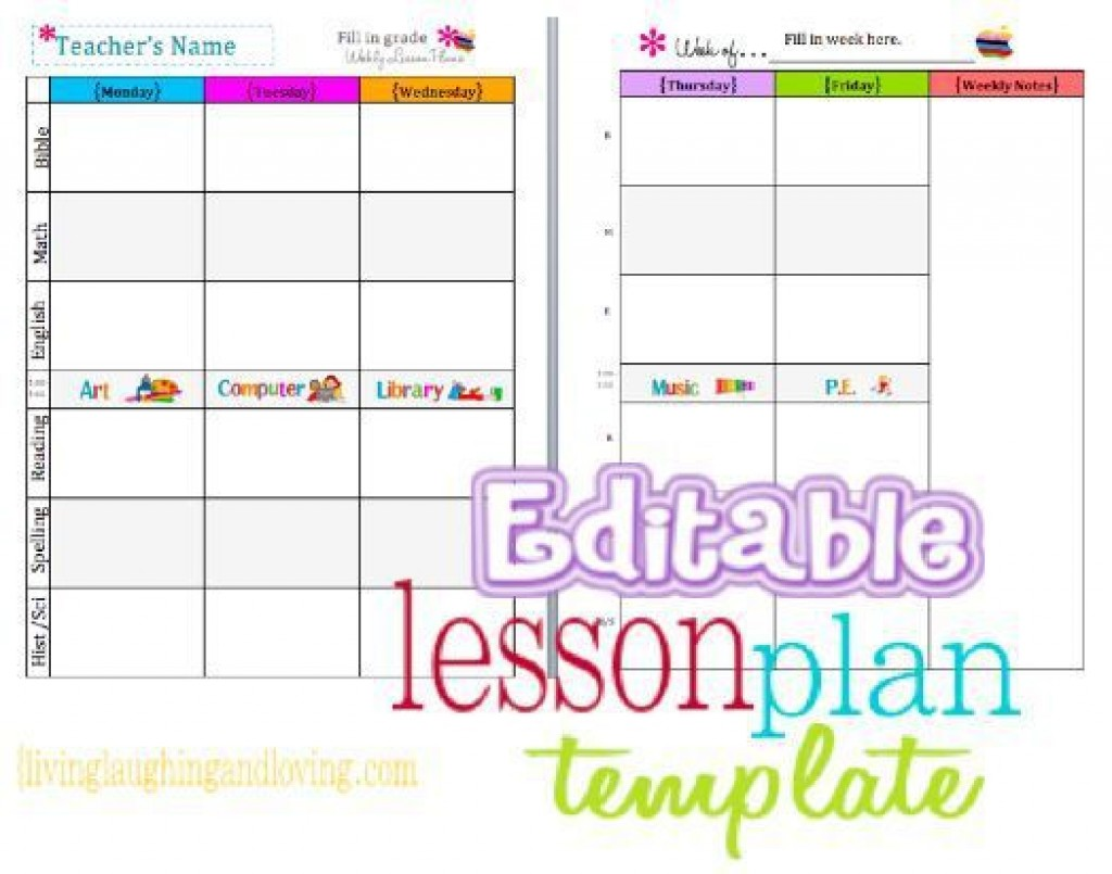 002 Simple Editable Lesson Plan Template Kindergarten High Def  FreeLarge