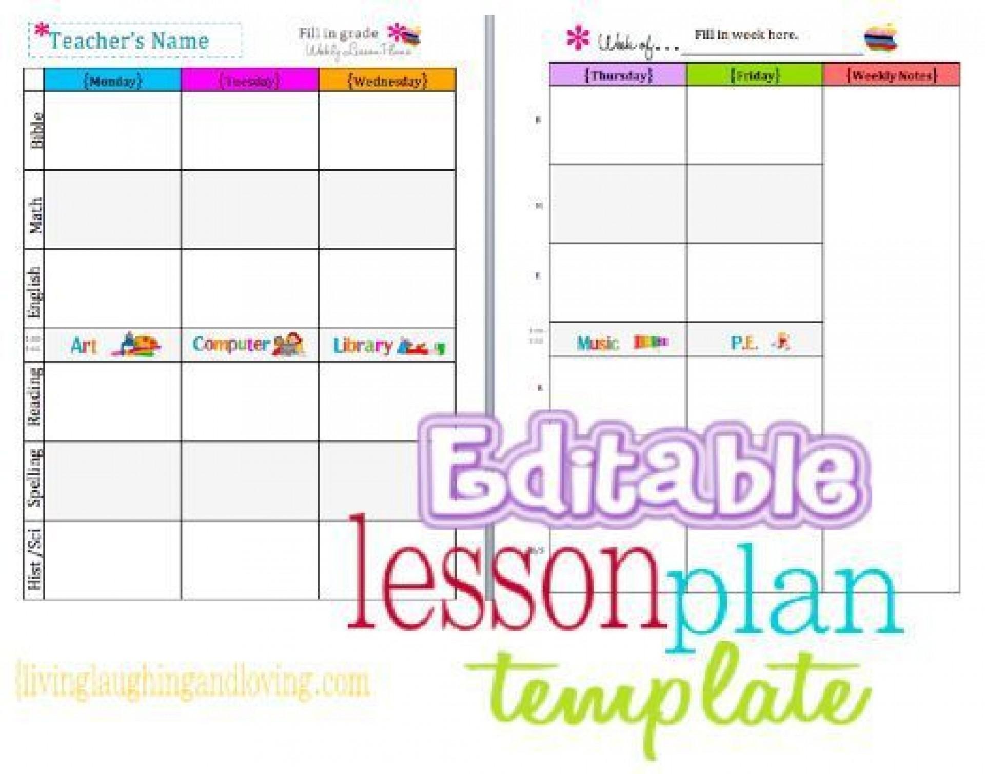 002 Simple Editable Lesson Plan Template Kindergarten High Def  Free1920