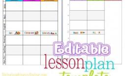 002 Simple Editable Lesson Plan Template Kindergarten High Def  Free