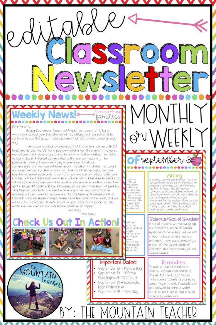 002 Simple Elementary School Newsletter Template Inspiration  Clas Teacher Free CounselorFull