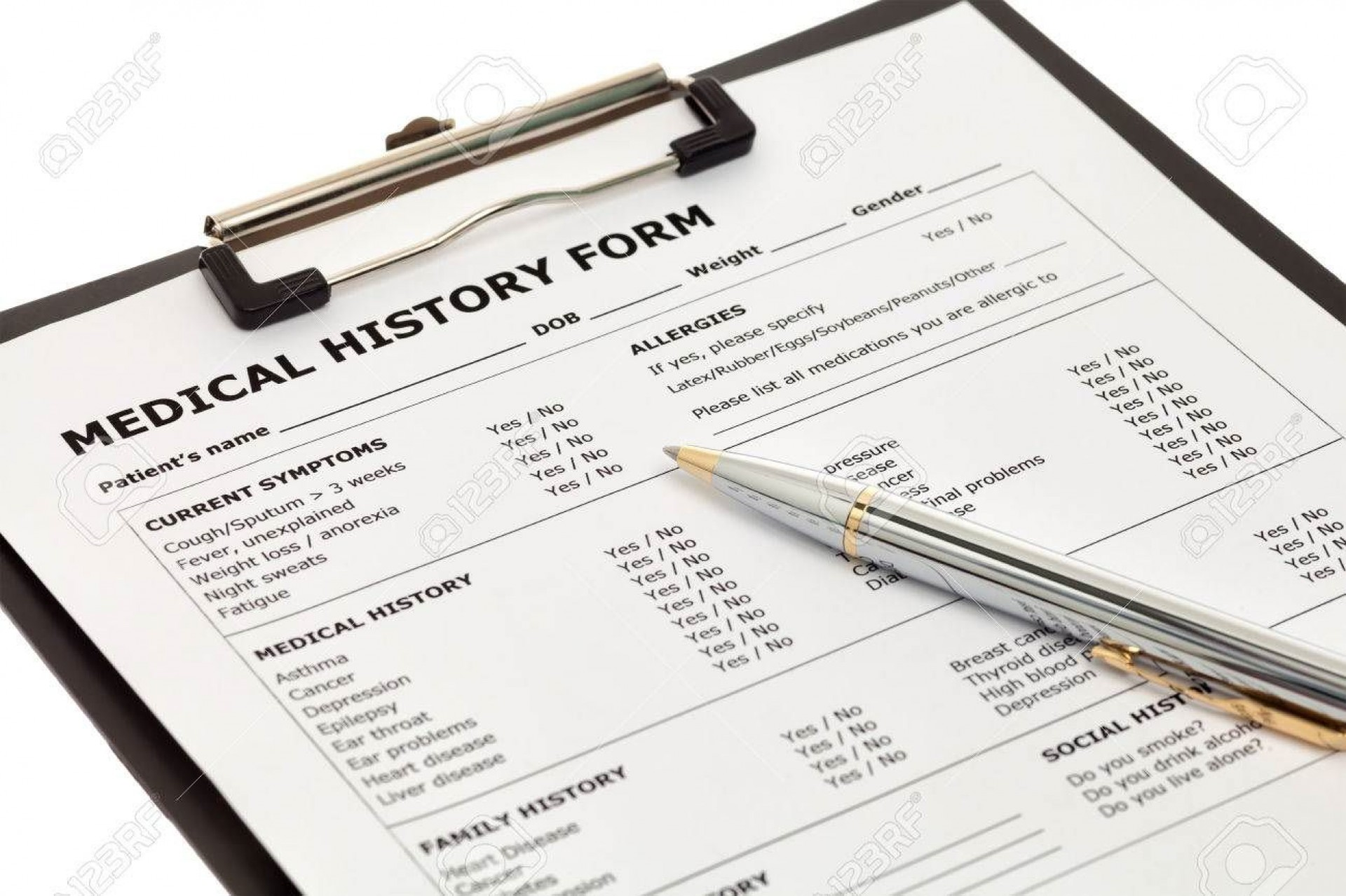 002 Simple Family Medical History Template Free Idea  Questionnaire1920