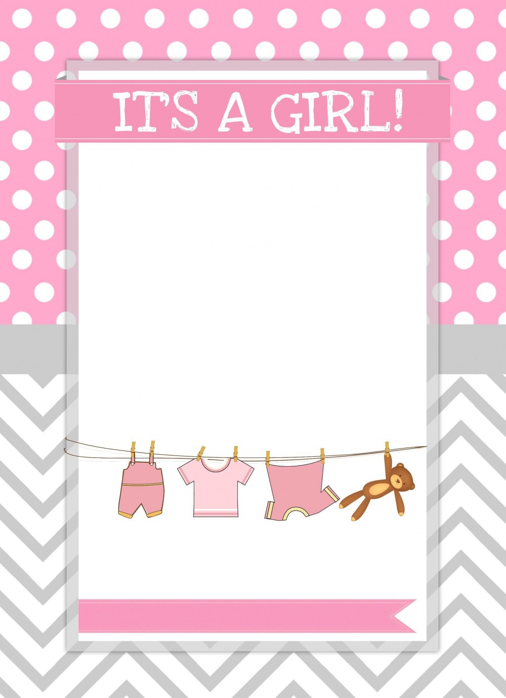 002 Simple Free Baby Shower Printable Girl High Definition  InvitationLarge