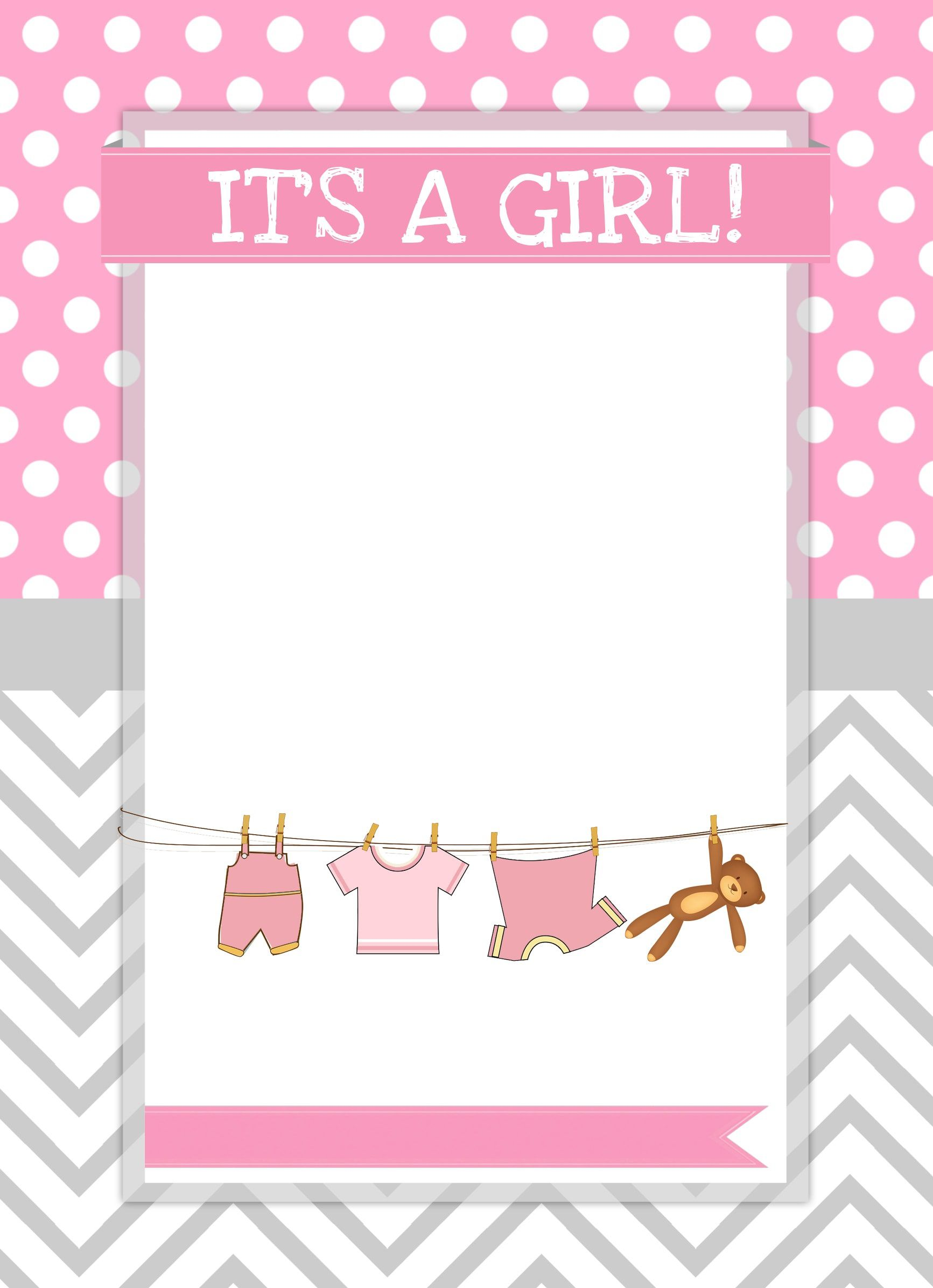 002 Simple Free Baby Shower Printable Girl High Definition  InvitationFull