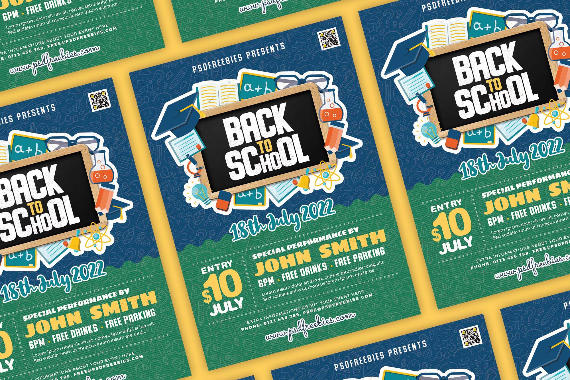 002 Simple Free Back To School Flyer Template Psd Example Full