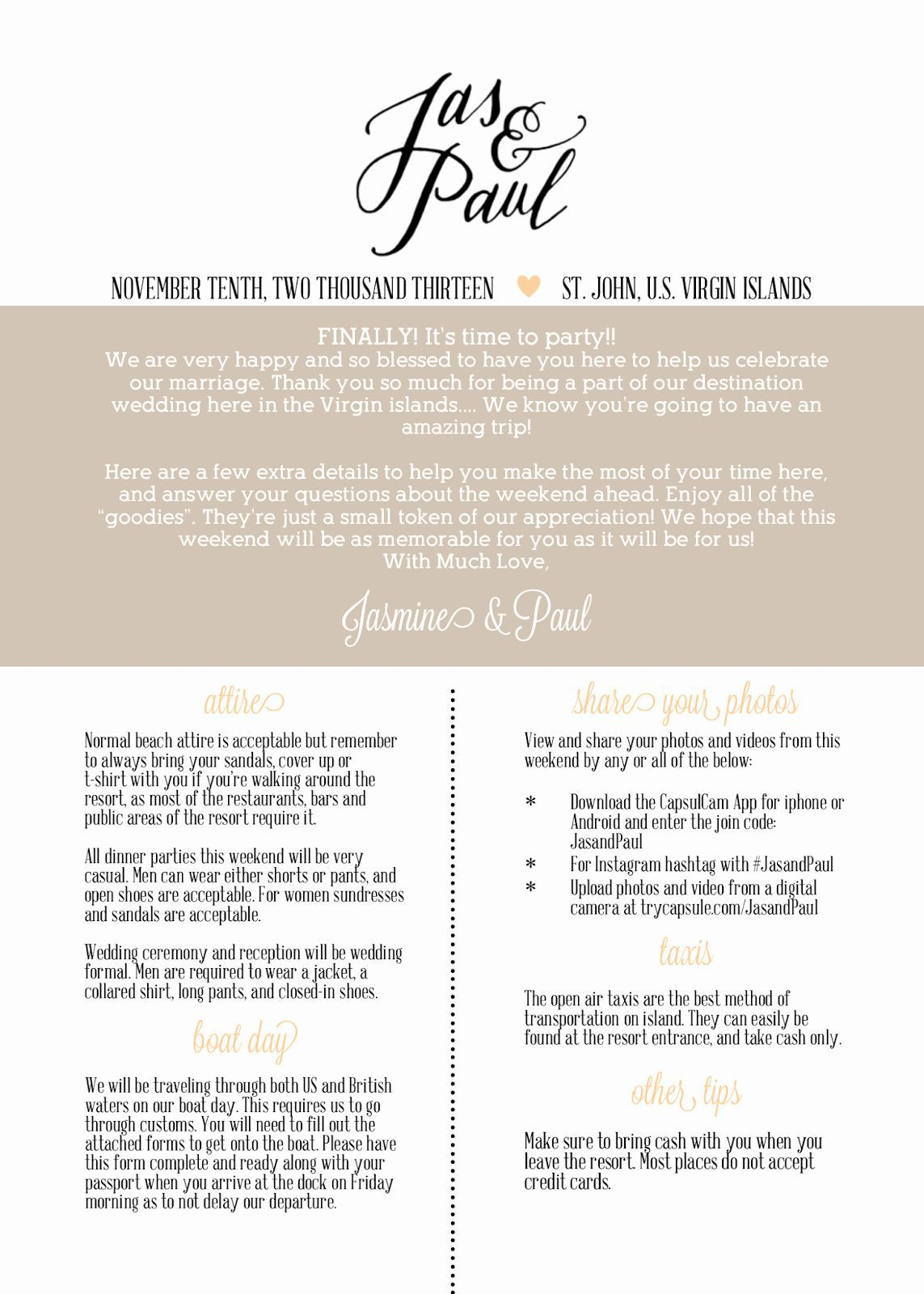 002 Simple Free Destination Wedding Welcome Letter Template Picture Full