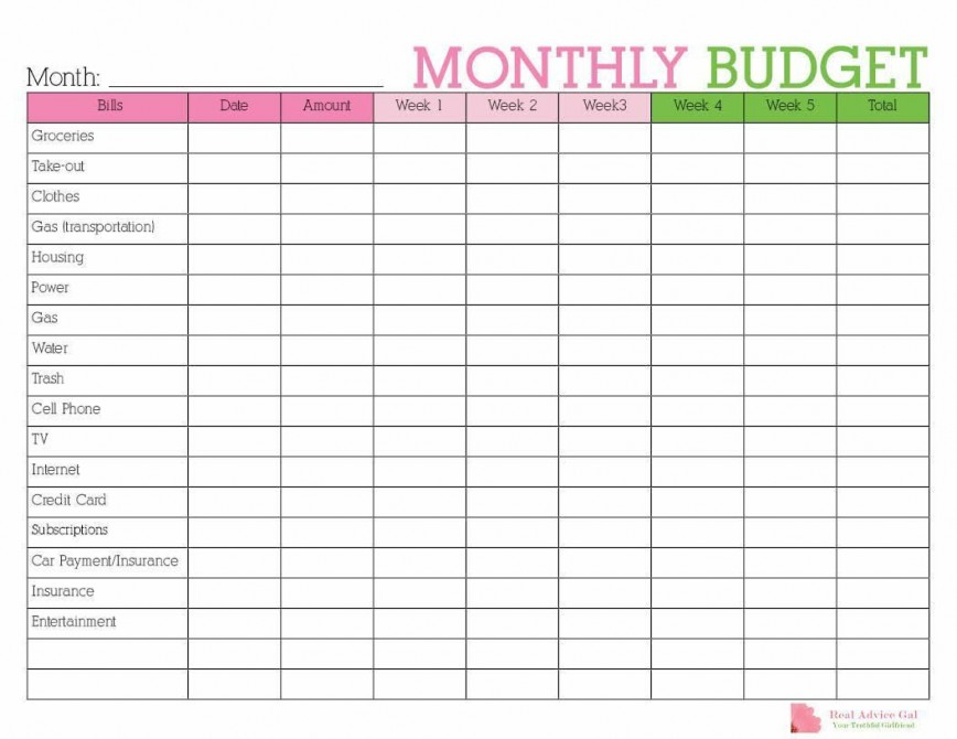 002 Simple Free Monthly Budget Template Sample  Household Excel Expense Report Download868
