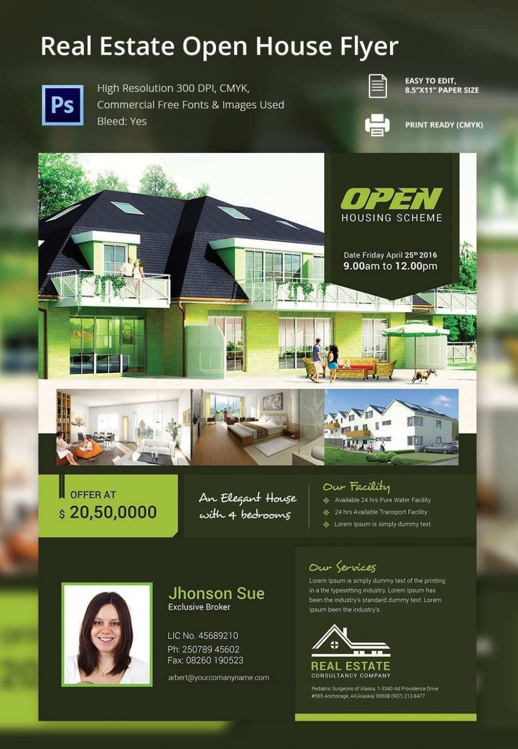 002 Simple Free Open House Flyer Template Example  Microsoft WordLarge