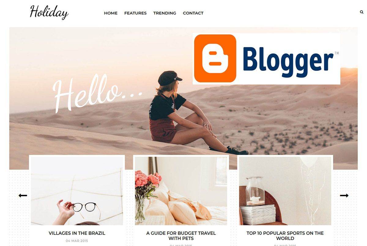 002 Simple Free Responsive Blogger Template With Slider Photo Full