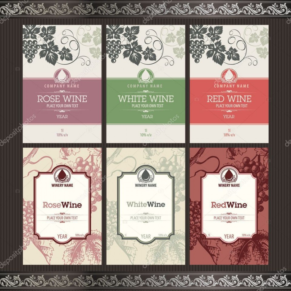 002 Simple Free Wine Label Template Concept  Bottle Microsoft Word Online Psd960