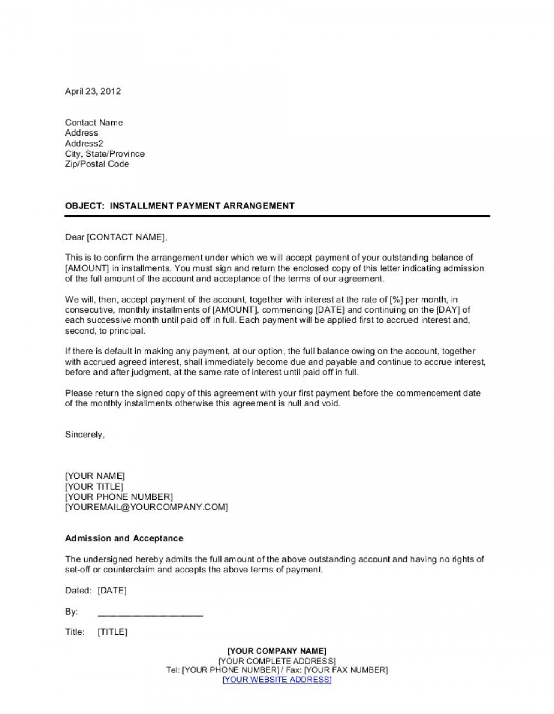 002 Simple Installment Payment Contract Template High Resolution  Agreement Free Car Word1920