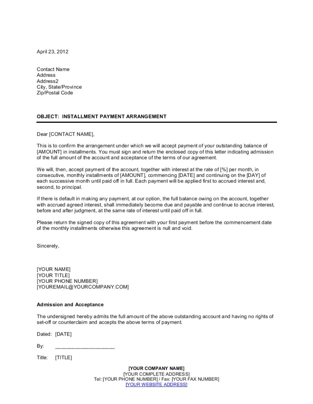 002 Simple Installment Payment Contract Template High Resolution  Car Agreement MonthlyFull