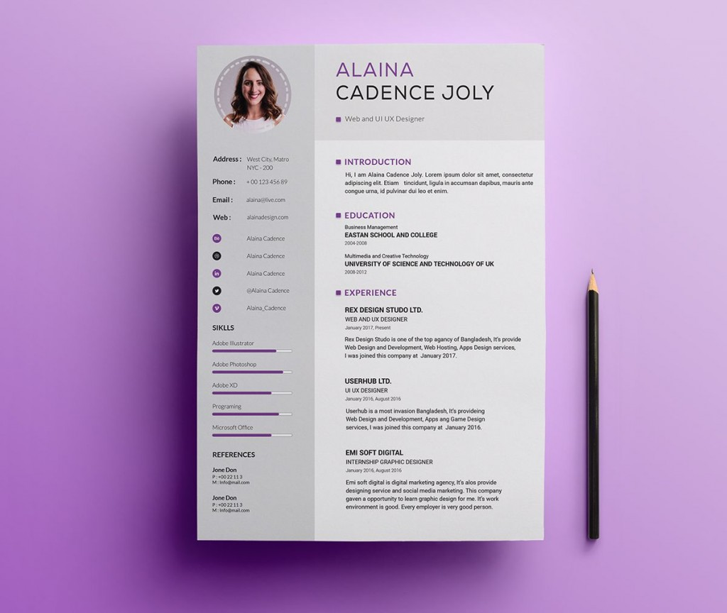 002 Simple Photoshop Resume Template Free Psd High Resolution Large