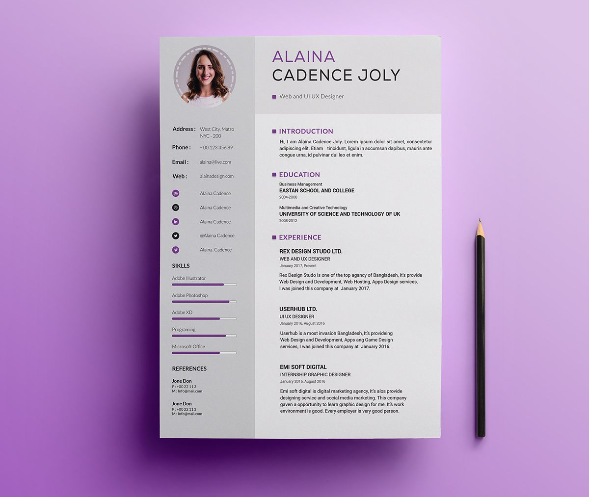 002 Simple Photoshop Resume Template Free Psd High Resolution Full