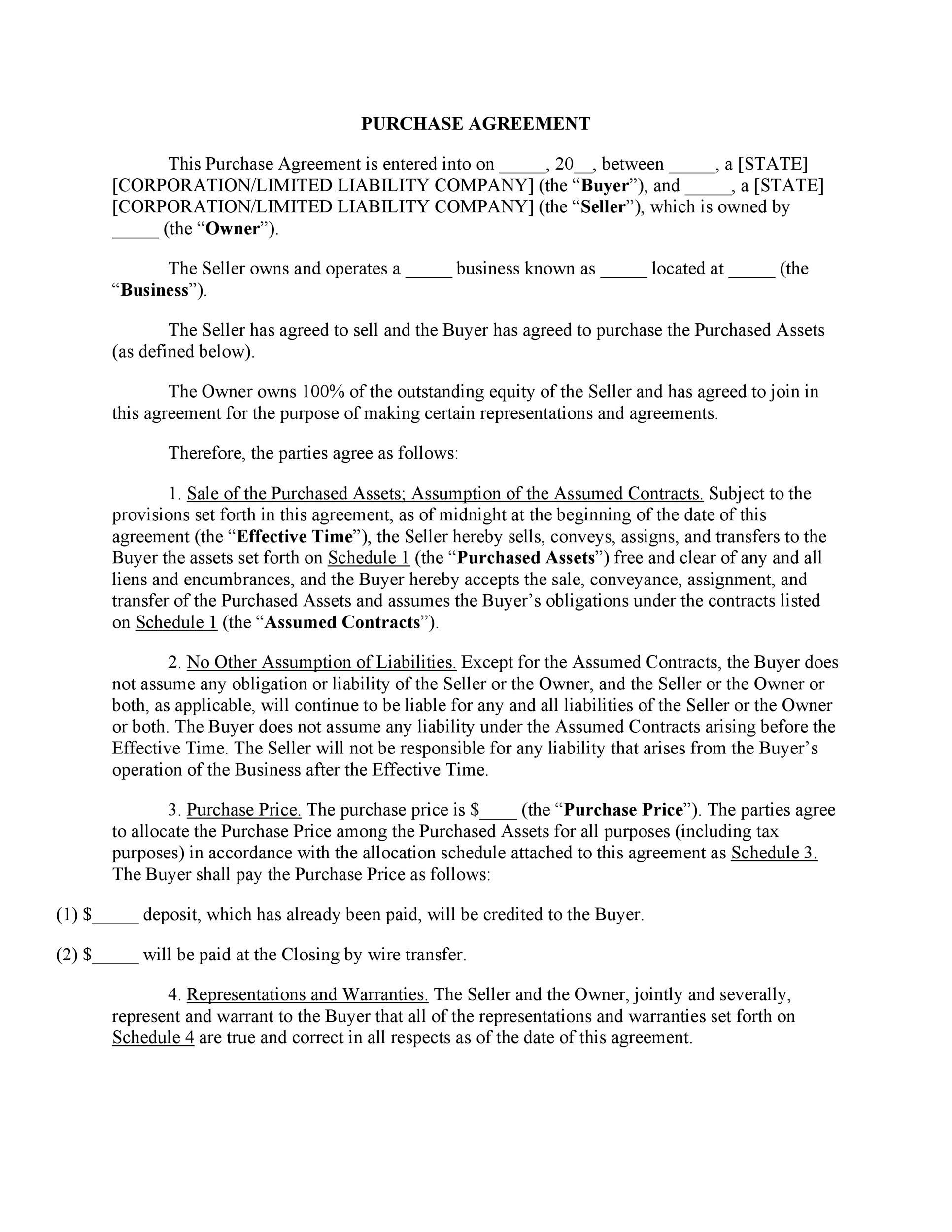 002 Simple Residential Purchase Agreement Template Concept  California Form FreeFull