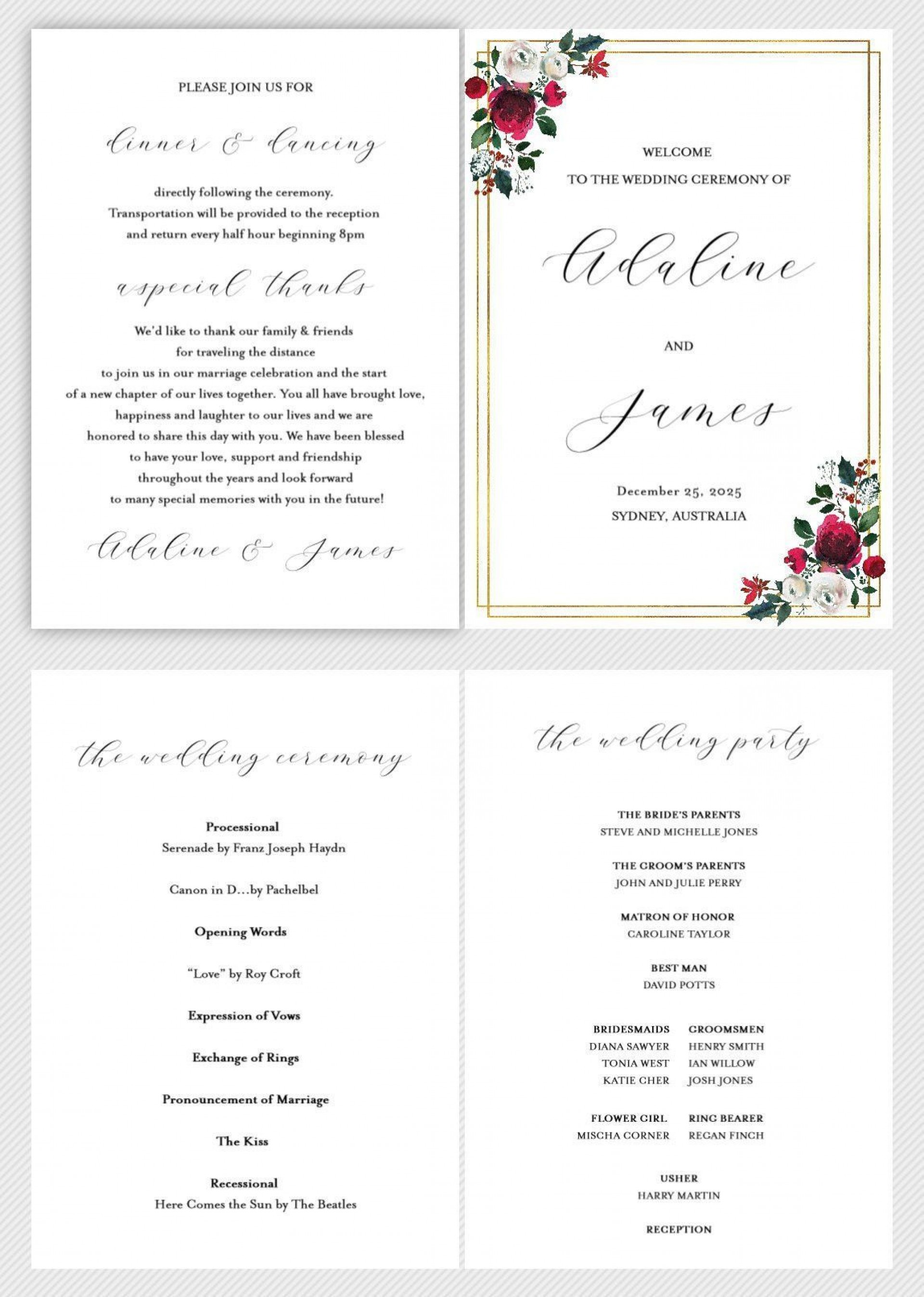 002 Simple Wedding Order Of Service Template Free Idea  Front Cover Download Church1920