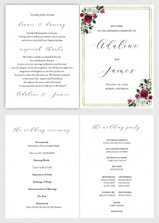 002 Simple Wedding Order Of Service Template Free Idea  Front Cover Download Church320