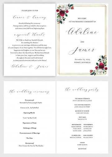 002 Simple Wedding Order Of Service Template Free Idea  Front Cover Download Church360
