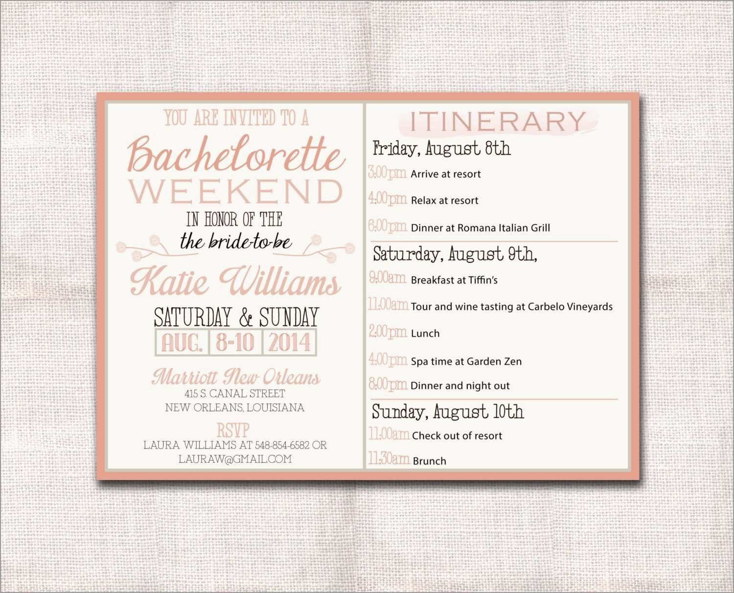 002 Singular Bachelorette Itinerary Template Free Concept  Party Editable DownloadFull