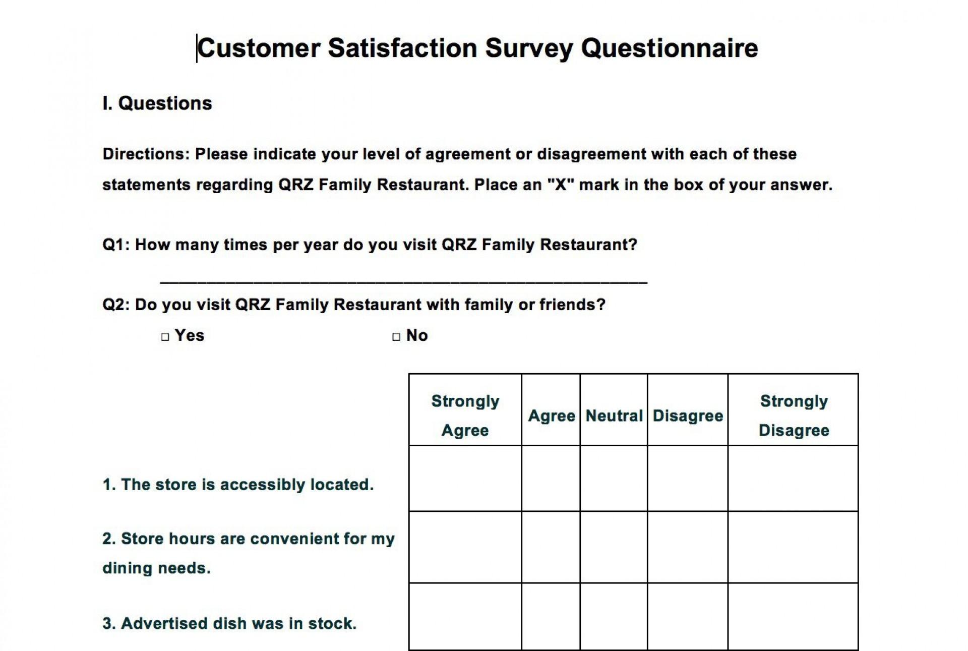 002 Singular Customer Satisfaction Survey Template Word Sample  Doc Form1920