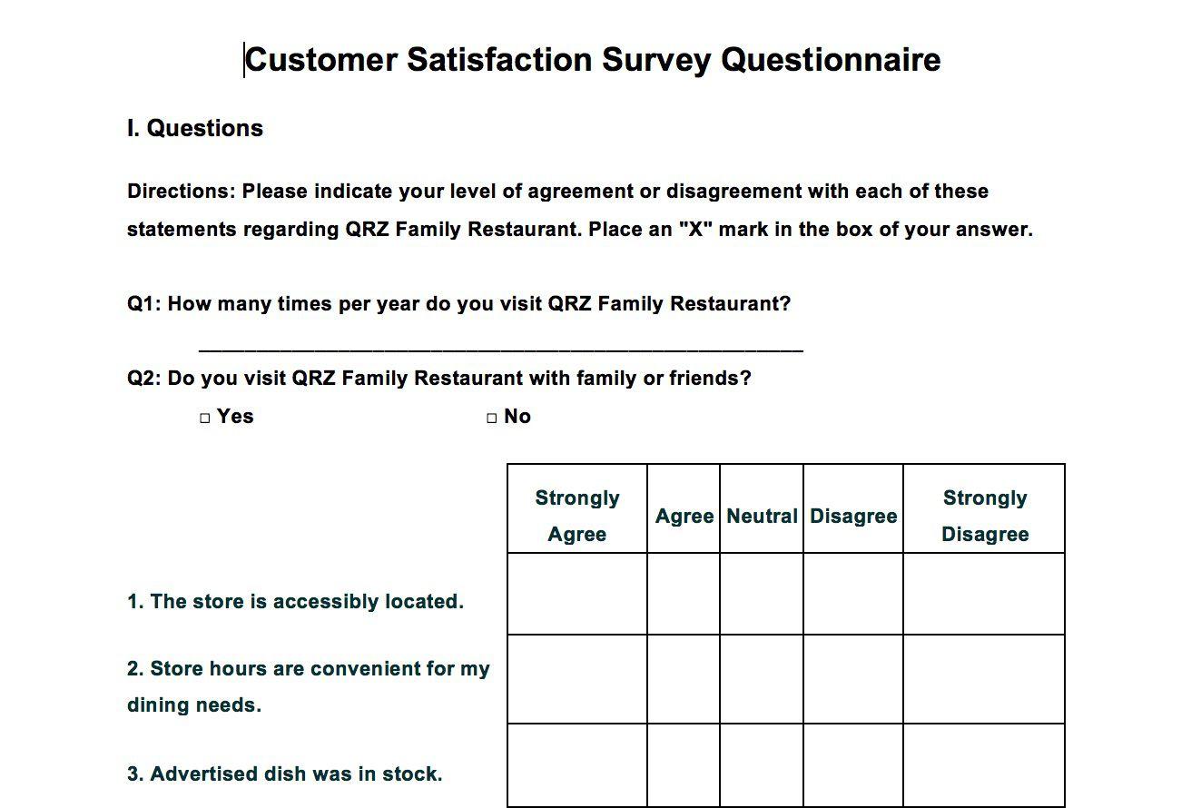 002 Singular Customer Satisfaction Survey Template Word Sample  Doc FormFull