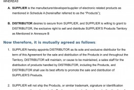 002 Singular Free Exclusive Distribution Agreement Template Uk Image