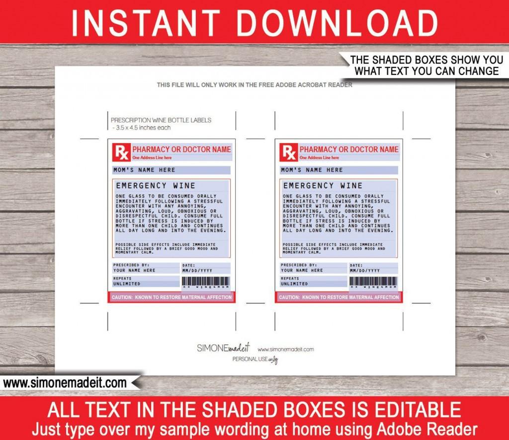 002 Singular Free Fake Prescription Label Template High Def Large