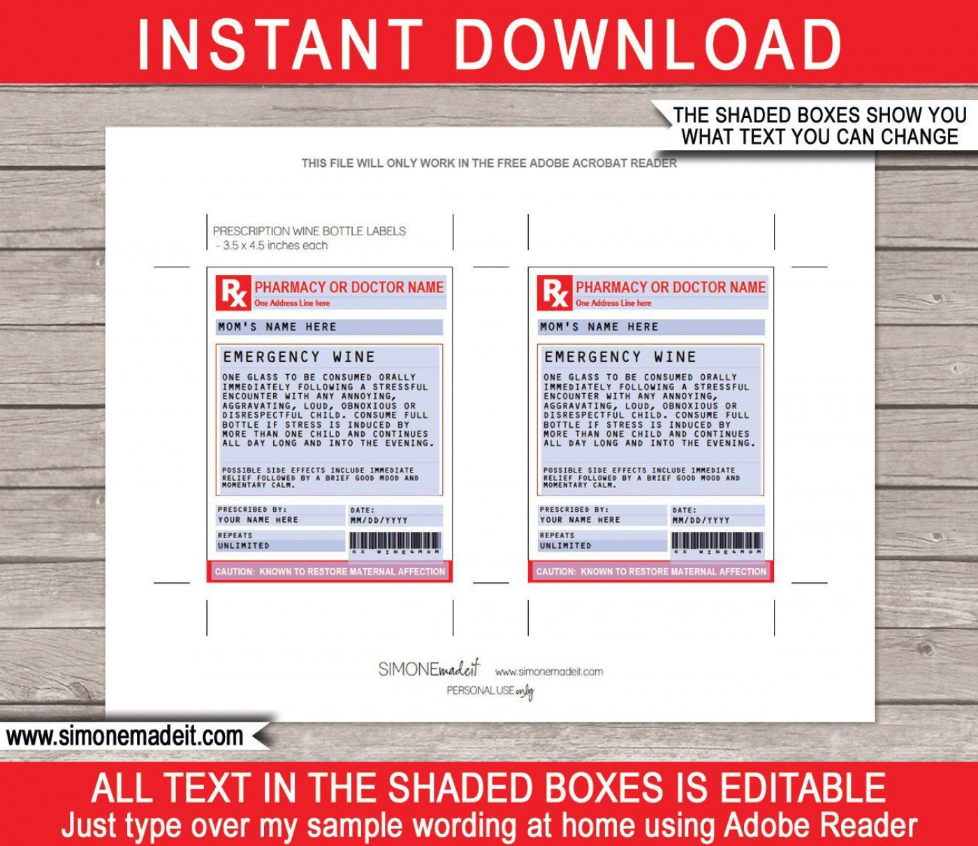 002 Singular Free Fake Prescription Label Template High Def 1400